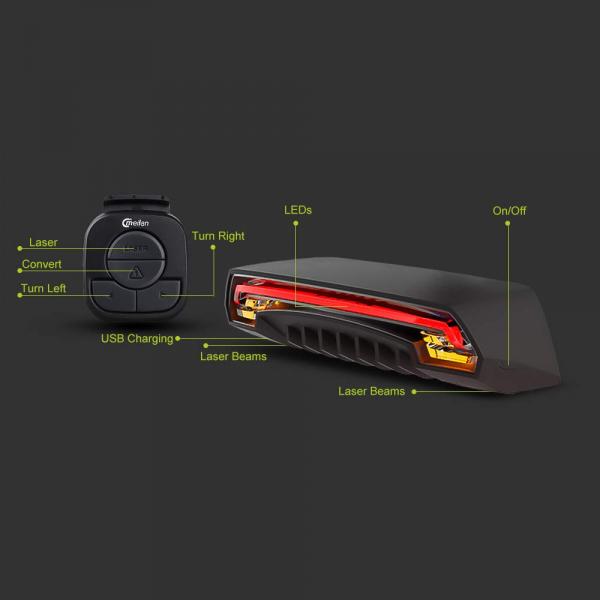 lumini bicicleta semnalizator bicicleta wireless meilan x5 10