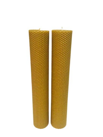 Cutie 2 Lumanari ceara de albine D6xH35 cm [0]