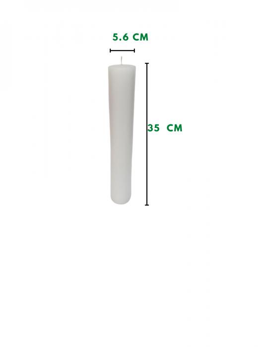 Lumanare scurta piersica D5.6xH35 cm 1