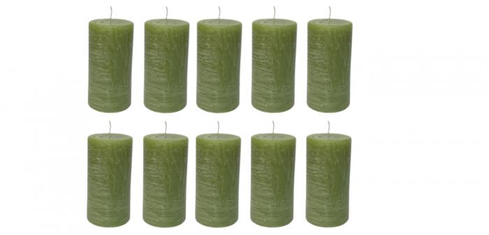 Cutie 10 lumanari RUSTICE stalp D5.2xH9.7 cm-verde deschis [0]