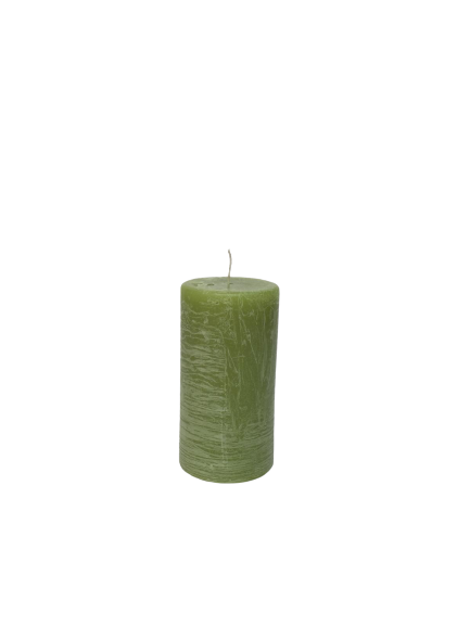 Lumanare RUSTICA stalp D5.2xH9.7 cm-verde deschis 0