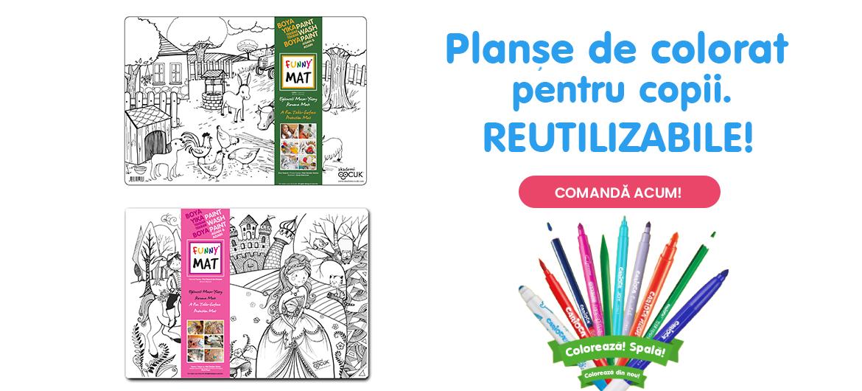 Banner carousel - Planse de colorat pentru copii, reutilizabile.