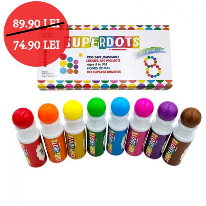 Carioci lavabile pentru colorat Do a Dot Makers set 8 culori. 0