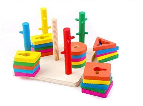 Jucarie din lemn inteligenta Coloane sortatoare cu obstacole 1