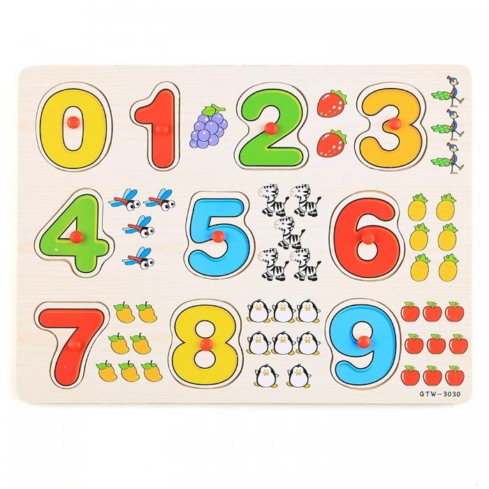 Jucarie puzzle incastru lemn cifre 1