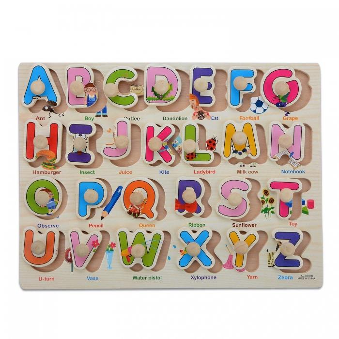"""Joc puzzle incastru lemn """"Invata Alfabetul - Litere animate"""" 3"""