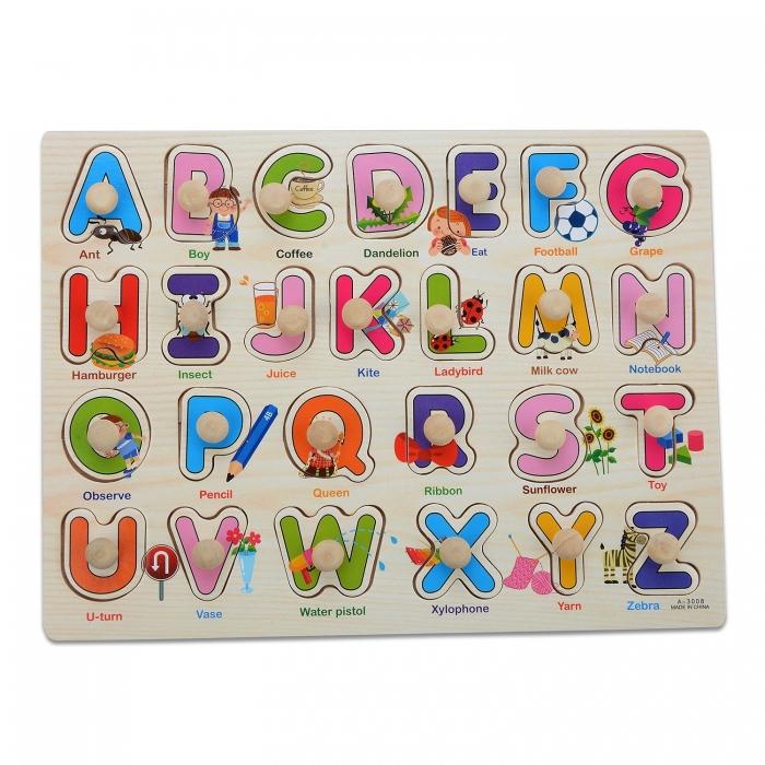 """Joc puzzle incastru lemn """"Invata Alfabetul - Litere animate"""" 0"""