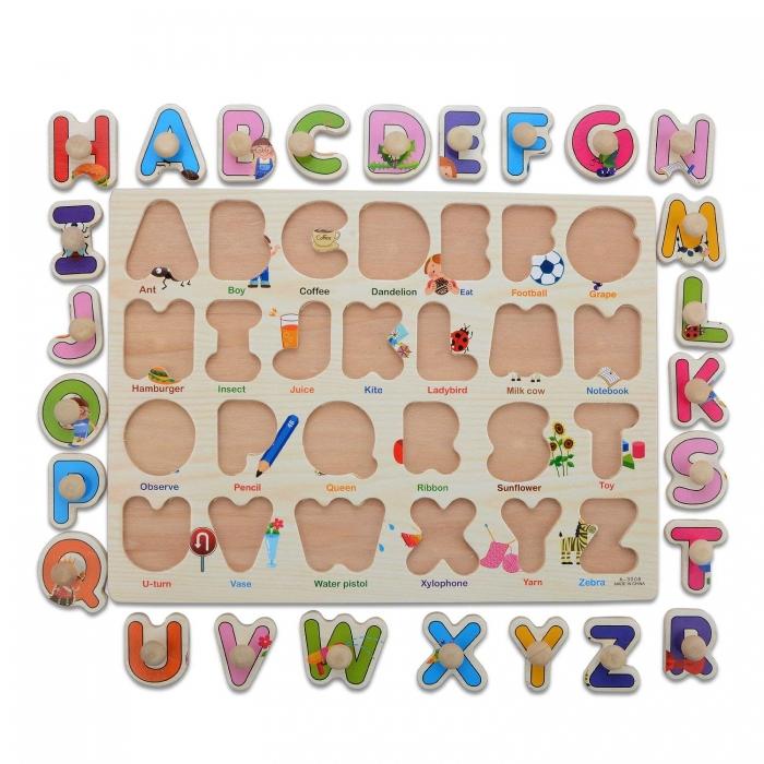 """Joc puzzle incastru lemn """"Invata Alfabetul - Litere animate"""" 5"""