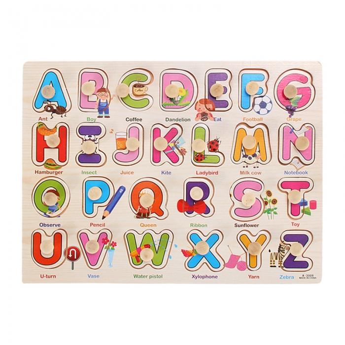 """Joc puzzle incastru lemn """"Invata Alfabetul - Litere animate"""" 2"""