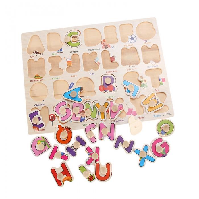"""Joc puzzle incastru lemn """"Invata Alfabetul - Litere animate"""" 4"""