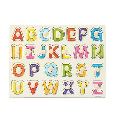 Puzzle din lemn litere cu maner alfabet, cifre, puzzle incastru.