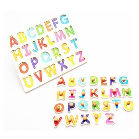 Puzzle din lemn litere cu maner alfabet, cifre, puzzle incastru. 2