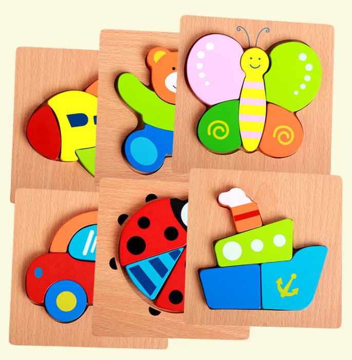 Joc puzzle din lemn pentru copii varsta incepand cu 1 an - masina.