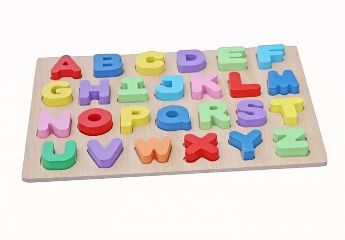 Joc puzzle din lemn cu litere de tipar Invata Alfabetul. 1