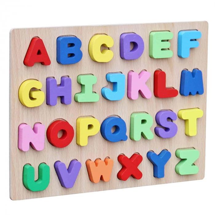 Joc puzzle din lemn cu litere de tipar Invata Alfabetul. 0
