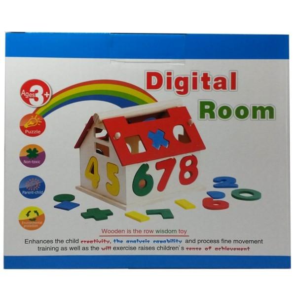 Jucărie din lemn - Casuta cu forme geometrice si cifre 3