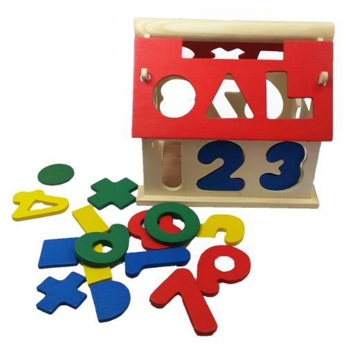 Jucărie din lemn - Casuta cu forme geometrice si cifre 0