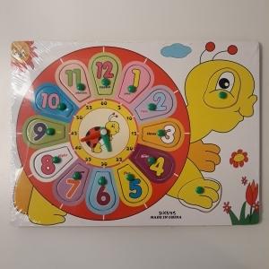 Jucarie Puzzle incastru Ceas din lemn buburuza 1