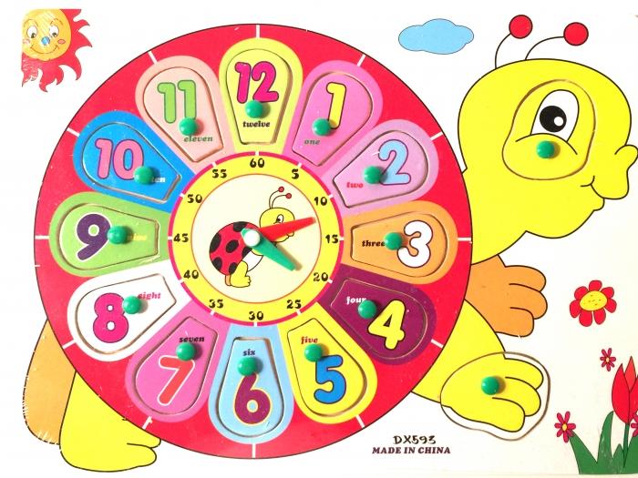 Jucarie Puzzle incastru Ceas din lemn buburuza 0