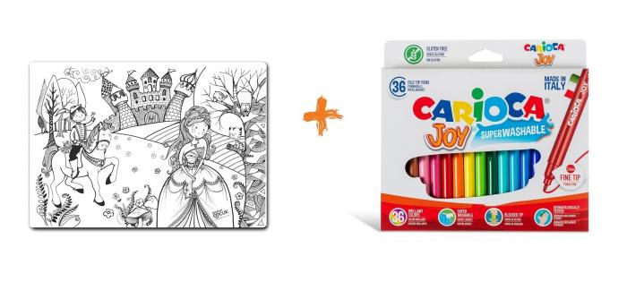 Promo Plansa desen de colorat reutilizabila - printul si printesa, Carioca. 0