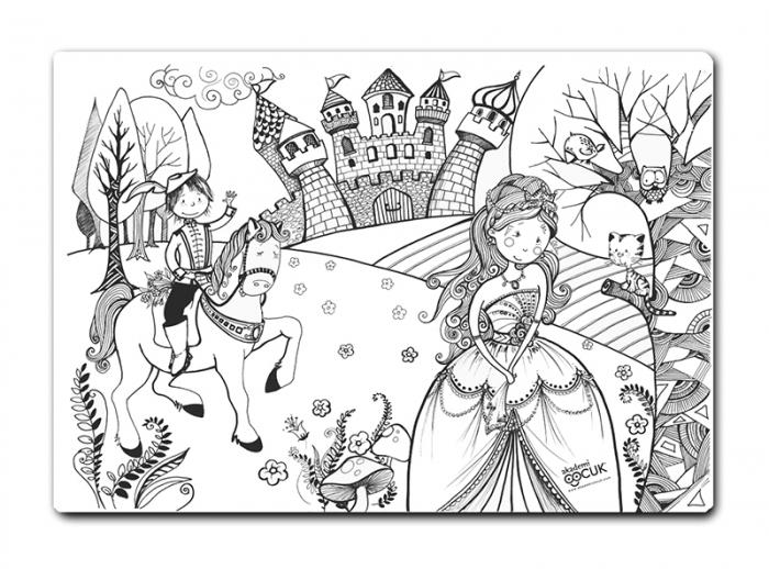 Promo Plansa desen de colorat reutilizabila - printul si printesa, Carioca. 5
