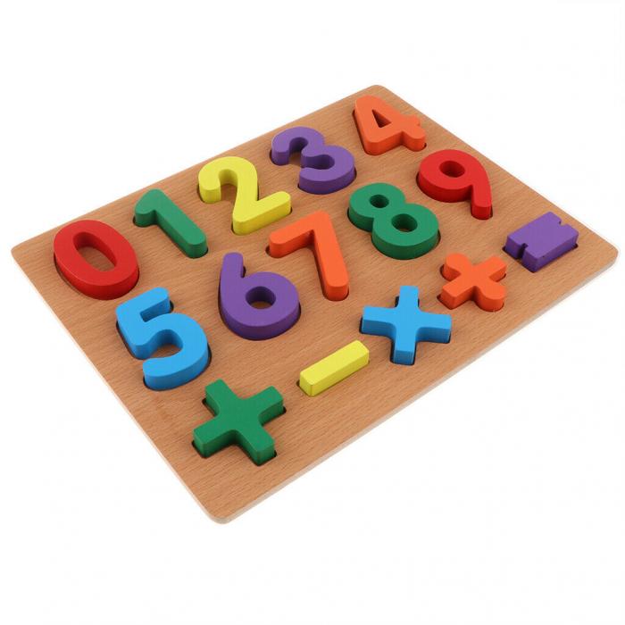 Puzzle incastru din lemn, 3D cu cifre de la 0 la 9 si matematica. 1