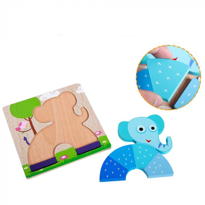 Joc puzzle din lemn pentru copii 1 an Elefant. 1
