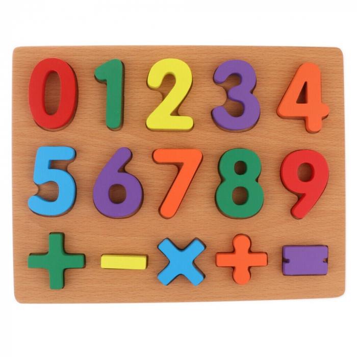 Puzzle incastru din lemn, 3D cu cifre de la 0 la 9 si matematica. 2