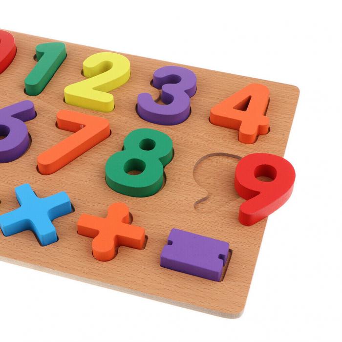 Puzzle incastru din lemn, 3D cu cifre de la 0 la 9 si matematica. 3