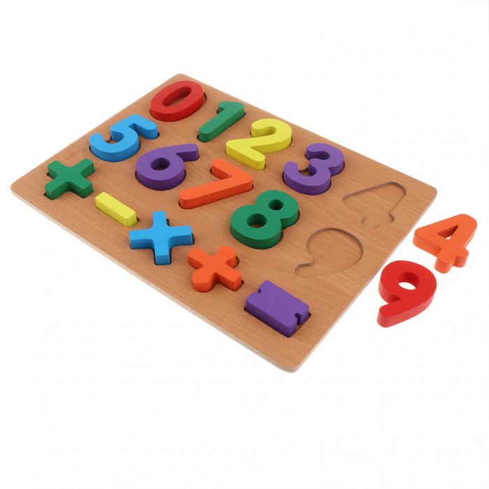 Puzzle incastru din lemn, 3D cu cifre de la 0 la 9 si matematica. 0