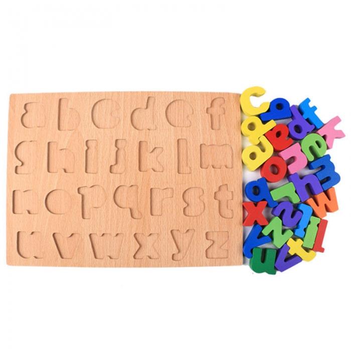 Puzzle din lemn Alfabet - Litere mici, invata alfabetul. 1