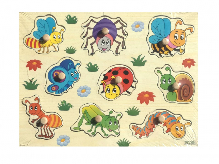 Puzzle incastru din lemn insecte fluture, albina, paianjen, omida, melc. 0