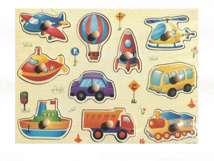 Jucarie din lemn puzzle incastru cu maner si masini, racheta, avion.. 0