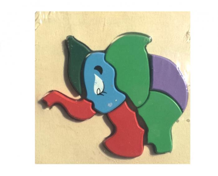Jucarie din lemn Montessori Puzzle in format 3D Elefant. 0