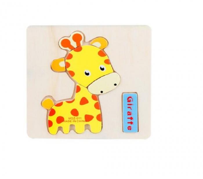 Puzzle incastru din lemn Girafa 0