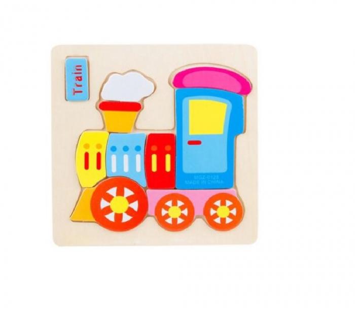 Puzzle incastru din lemn Trenulet 0