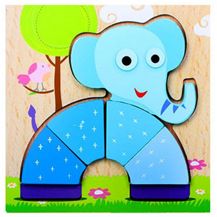 Joc puzzle din lemn pentru copii 1 an Elefant. 0