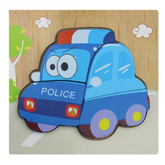 Puzzle Lemn 3D Masina de politie 0