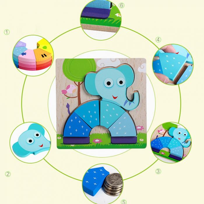 Joc puzzle din lemn pentru copii 1 an Elefant. 2