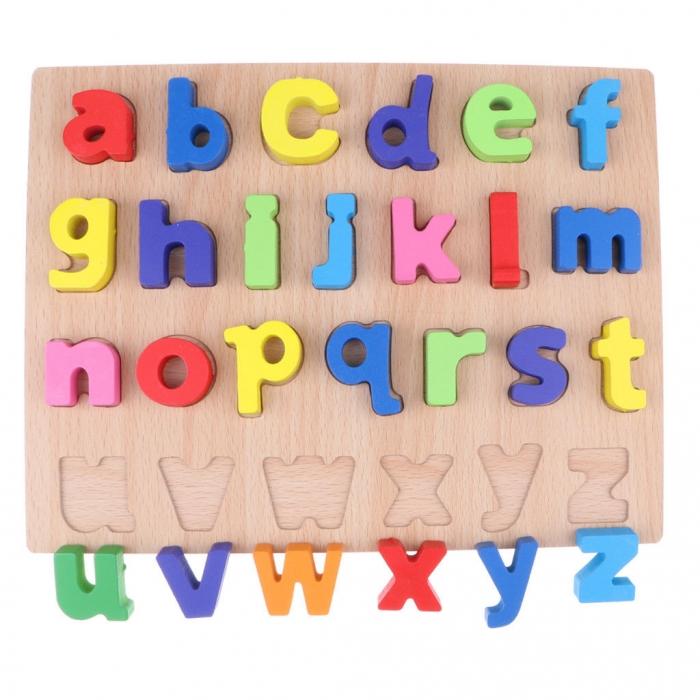 Puzzle din lemn Alfabet - Litere mici, invata alfabetul. 2