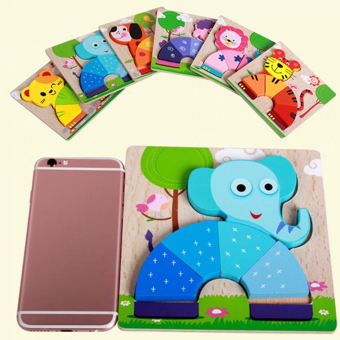 Joc puzzle din lemn pentru copii 1 an Elefant. 3