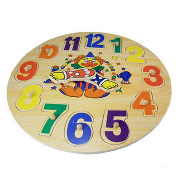 Puzzle lemn incastru ceas clovn jucarie educativa. 0