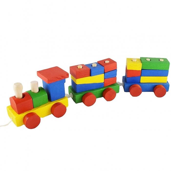 Tren din lemn cu forme geometrice de diferite culori, 15 piese 1