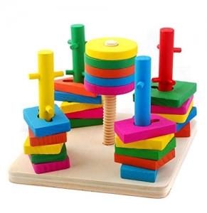 Jucarie din lemn Coloane sortatoare cu obstacole2