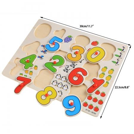 Joc puzzle incastru cu cifre din lemn multicolor.0