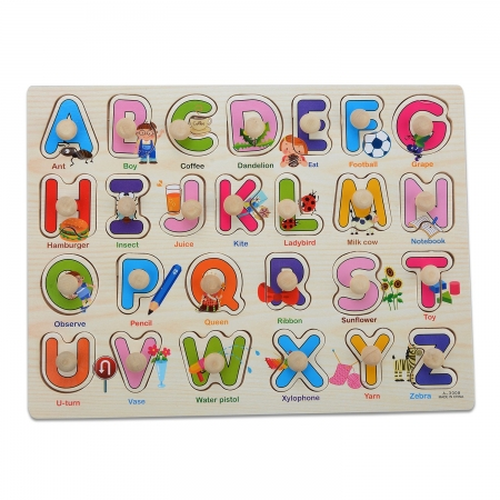 """Joc puzzle incastru lemn """"Invata Alfabetul - Litere animate""""0"""