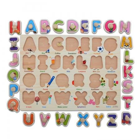 """Joc puzzle incastru lemn """"Invata Alfabetul - Litere animate""""5"""