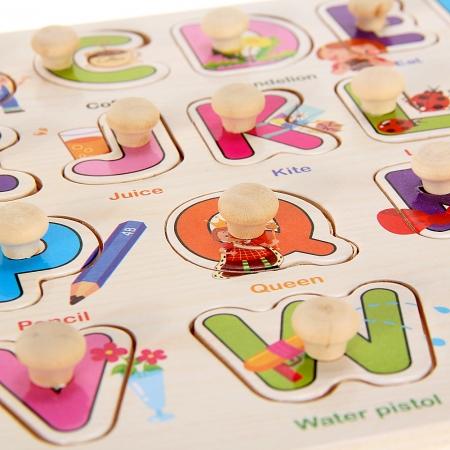 """Joc puzzle incastru lemn """"Invata Alfabetul - Litere animate""""1"""