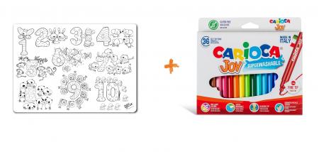 Pachet PROMO: Plansa de colorat reutilizabila - Cifre si numere + Carioca JOY0