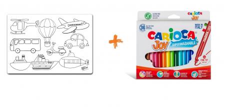 Pachet PROMO: Plansa de colorat reutilizabila - Vehicule + Carioca JOY